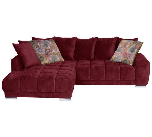 WOHNLANDSCHAFT in Textil Bordeaux - Chromfarben/Bordeaux, KONVENTIONELL, Textil (219/280cm)