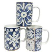 KAFFEMUGG - vit/blå, Basics, keramik (8,2/11cm) - LANDSCAPE
