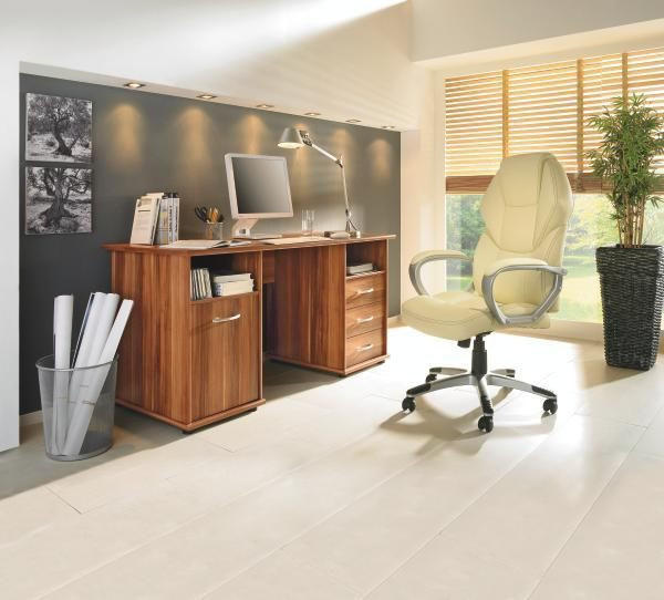 PISAĆI STOL - boje oraha/boje aluminija, Design, drvni materijal/plastika (148/75/67cm) - BOXXX