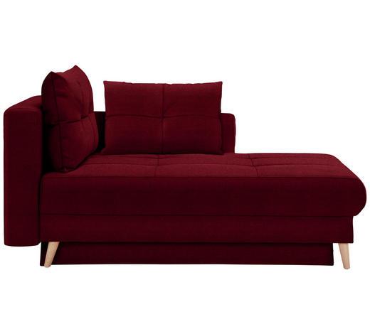 LIEGE in Textil Dunkelrot - Eichefarben/Dunkelrot, KONVENTIONELL, Holz/Textil (166/96/104cm) - Venda