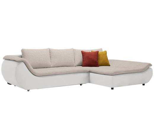 WOHNLANDSCHAFT in Textil Creme, Naturfarben - Creme/Schwarz, Design, Kunststoff/Textil (310/185cm) - Carryhome