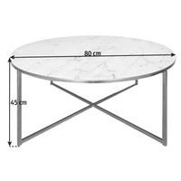 COUCHTISCH rund Grau, Weiß, Messingfarben  - Messingfarben/Weiß, Trend, Glas/Metall (80/45cm) - Carryhome
