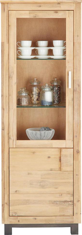 VITRÍNA, částečně masivní, akácie, barvy akácie - šedá/barvy stříbra, Konvenční, kov/dřevo (65/190/45cm) - Zandiara