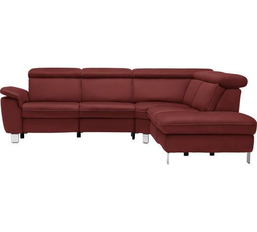 WOHNLANDSCHAFT in Textil Bordeaux  - Bordeaux/Beige, Design, Textil/Metall (271/242cm) - Cantus