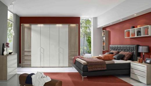 DREHTÜRENSCHRANK 6-türig Lärchefarben, Weiß - Chromfarben/Lärchefarben, Design, Holzwerkstoff/Metall (302/223/59,5cm) - Novel
