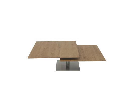 COUCHTISCH Wildeiche massiv quadratisch Eichefarben - Eichefarben, Design, Holz/Metall (75/75/30+38cm)