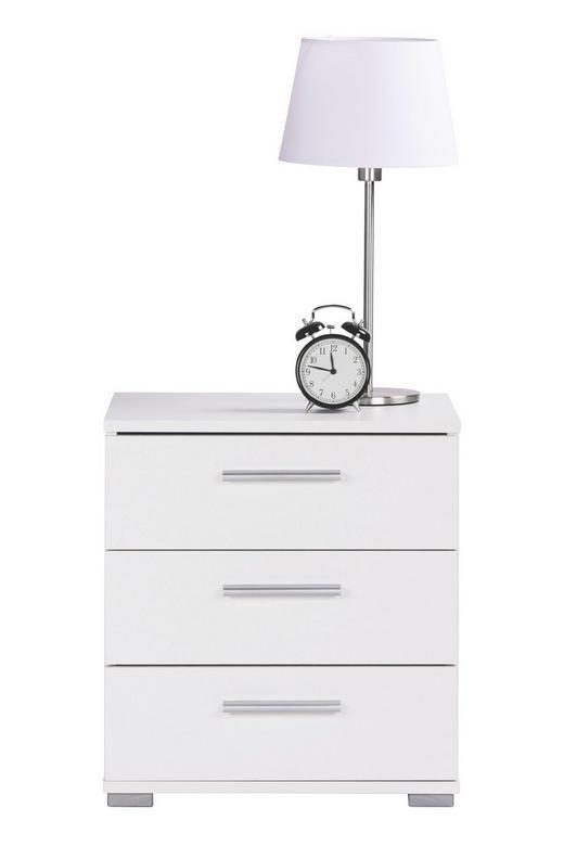 NACHTKÄSTCHEN Weiß - Alufarben/Weiß, Design, Kunststoff (45/50/34cm) - Carryhome