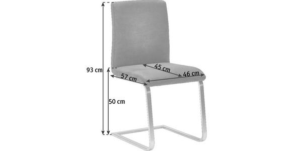 SCHWINGSTUHL in Metall, Textil Anthrazit, Silberfarben  - Edelstahlfarben/Anthrazit, Design, Textil/Metall (46/93/57cm) - Dieter Knoll