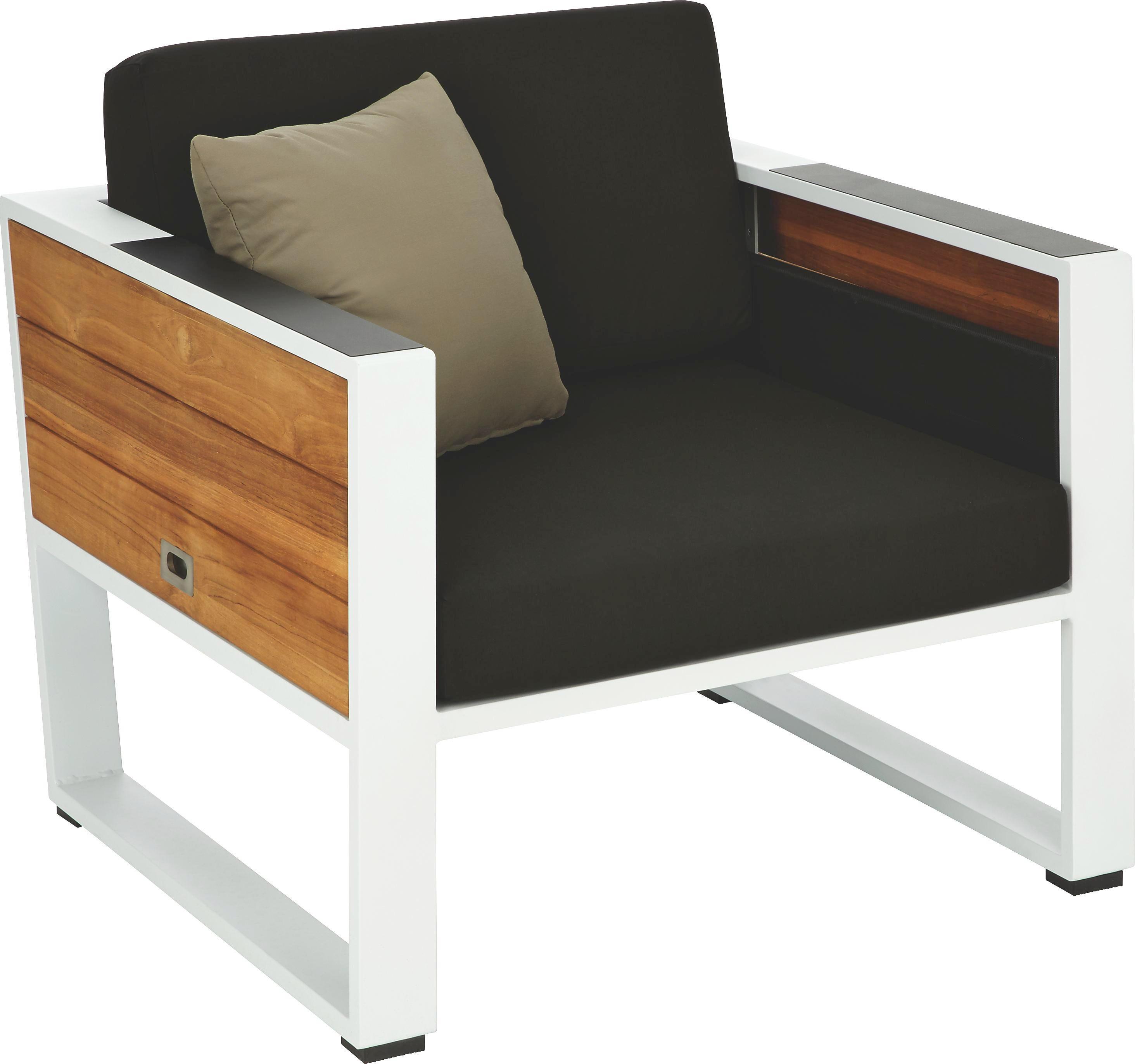 LOUNGE FOTELJA - bijela/siva, Design, drvo/metal (84/61/81,5cm) - AMBIA GARDEN