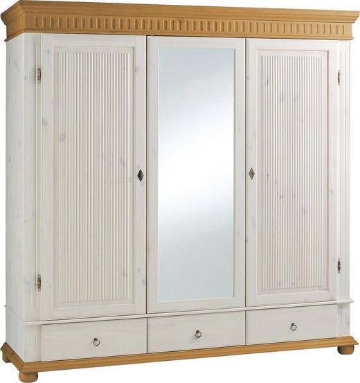 KLEIDERSCHRANK 3  -türig Kiefer massiv Kieferfarben, Weiß - Weiß/Kieferfarben, LIFESTYLE, Holz/Metall (195/218/62cm) - CARRYHOME