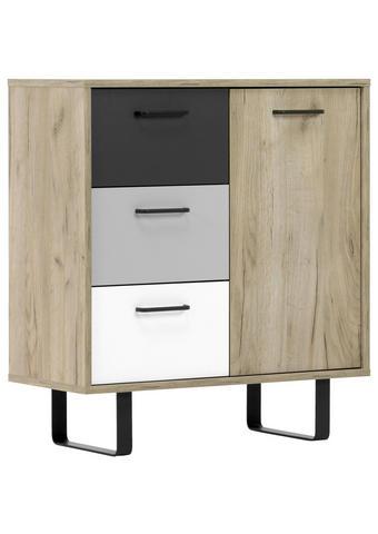KOMODA - bijela/boje hrasta, Moderno, drvni materijal/metal (80/86,1/35cm) - Carryhome