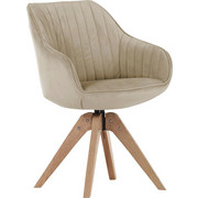 STUHL Velours Beige - Eichefarben/Beige, Design, Holz/Textil (60/83/65cm) - Hom`in