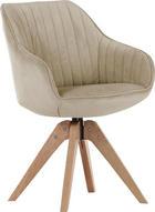 STUHL Flachgewebe Beige - Eichefarben/Beige, Design, Holz/Textil (60/83/65cm) - HOM`IN