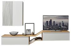 WOHNWAND Eiche furniert Grau, Weiß, Eichefarben - Eichefarben/Weiß, Design, Glas/Holz (300/187/47cm) - Dieter Knoll