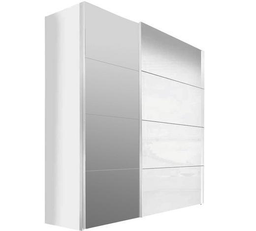 SCHWEBETÜRENSCHRANK in Weiß  - Weiß, Design, Glas/Holzwerkstoff (250/216/68cm) - Hom`in