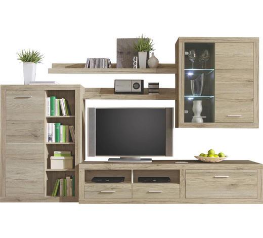 OBÝVACÍ STĚNA, barvy dubu - barvy stříbra/barvy dubu, Konvenční, kompozitní dřevo/umělá hmota (292/189/48cm) - Carryhome