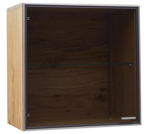 HÄNGESCHRANK - Eichefarben/Alufarben, KONVENTIONELL, Glas/Holz (64/64/38cm) - Voleo
