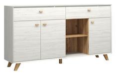 SIDEBOARD melaminharzbeschichtet Weiß - Eichefarben/Weiß, Design, Holz/Holzwerkstoff (187/100/41cm) - Linea Natura