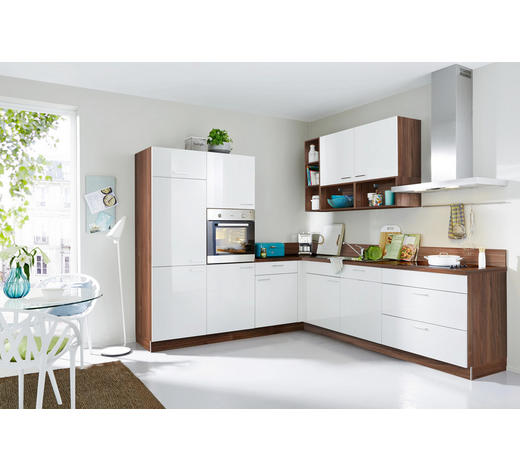 ECKKÜCHE E-Geräte, Spüle, Soft-Close-System   - Nussbaumfarben/Weiß, MODERN (245/275cm) - Welnova