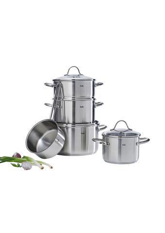 SADA HRNCŮ NA VAŘENÍ - barvy stříbra, Basics, kov/sklo (27,5/25,5/51,0cm) - Fissler