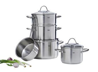 SET LONACA ZA KUHANJE - boje srebra, Konvencionalno, staklo/metal (27,5/25,5/51,0cm) - Fissler