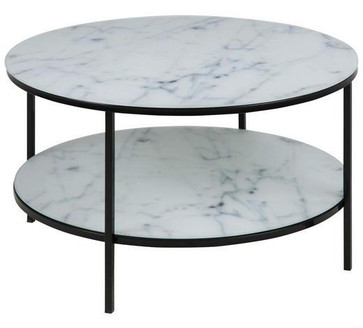COUCHTISCH rund Schwarz, Weiß  - Schwarz/Weiß, Trend, Glas/Metall (80/45cm) - Carryhome
