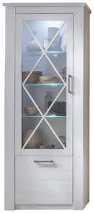 VITRINSKÅP - vit/grå, Design, metall/glas (82/205/38cm)
