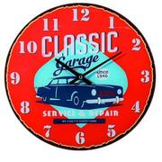 STENSKA URA CLASSIC GARAGE  modra, rdeča, turkizna 30 cm  - turkizna/modra, Basics, steklo (30cm)