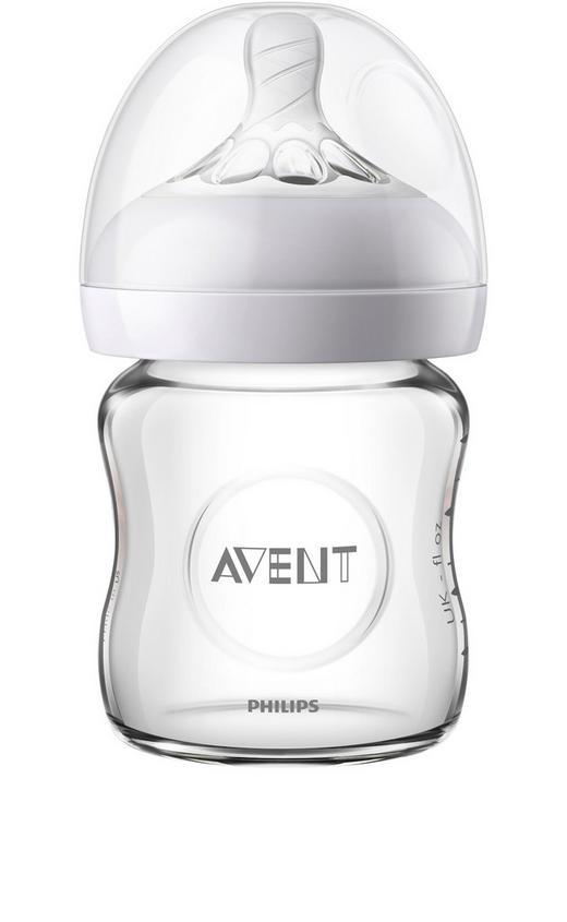 WEITHALSFLASCHE 120 ml - Transparent, Basics, Glas/Kunststoff (7,3/13/cm) - Avent
