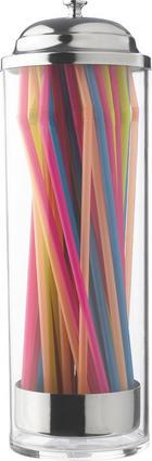 Trinkhalmbehälter - Klar/Silberfarben, Basics, Kunststoff/Metall (23,5cm) - HOMEWARE