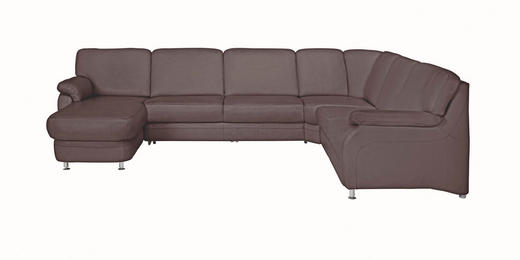 WOHNLANDSCHAFT Echtleder - Alufarben/Braun, KONVENTIONELL, Leder/Metall (165/329/239cm) - Beldomo Premium