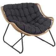 VRTNA RELAKS STOLICA - tamno siva/svijetlo smeđa, Konvencionalno, metal/tekstil (97/83,5/110,5cm) - Ambia Garden