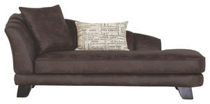 CHAISELONGUE in Textil Dunkelbraun  - Dunkelbraun, Design, Holz/Textil (202/80/103cm) - Novel