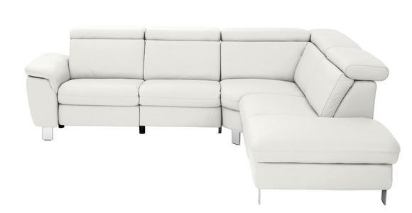 WOHNLANDSCHAFT in Leder Weiß  - Alufarben/Weiß, Design, Leder/Metall (271/242cm) - Cantus