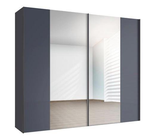SCHWEBETÜRENSCHRANK in Graphitfarben - Graphitfarben, Design, Glas/Holzwerkstoff (250/216/68cm) - Hom`in