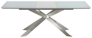 ESSTISCH rechteckig Edelstahlfarben, Weiß - Edelstahlfarben/Weiß, Design, Glas/Metall (160-210/95/76cm) - Hom`in