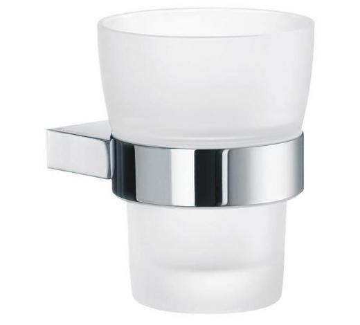 ZAHNPUTZBECHER Metall, Glas - Chromfarben, Basics, Glas/Metall (7,4/9,8cm)