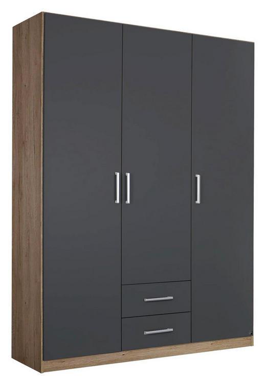 DREHTÜRENSCHRANK Eichefarben, Grau - Eichefarben/Silberfarben, Design, Holzwerkstoff/Kunststoff (136/197/54cm) - Carryhome