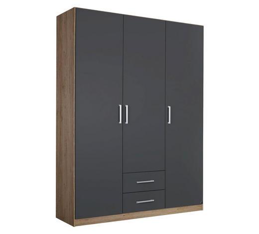 DREHTÜRENSCHRANK in Grau, Eichefarben - Eichefarben/Silberfarben, Design, Holzwerkstoff/Kunststoff (136/197/54cm) - Carryhome
