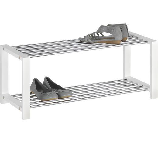 SCHUHREGAL 80/32/30 cm - Chromfarben/Weiß, Design, Holzwerkstoff/Metall (80/32/30cm) - Carryhome