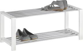 SKOHYLLA - vit/kromfärg, Design, metall/träbaserade material (80/32/30cm) - Carryhome