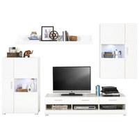 REGAL ZA DNEVNI BORAVAK - bijela/boje srebra, Design, staklo/drvni materijal (265/186/44cm) - Xora