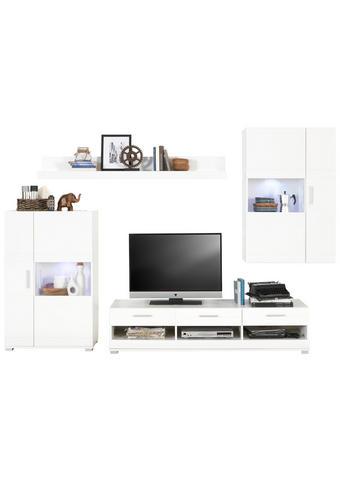 REGAL ZA DNEVNI BORAVAK bijela   - bijela/boje srebra, Design, staklo/drvni materijal (265/186/44cm) - Xora