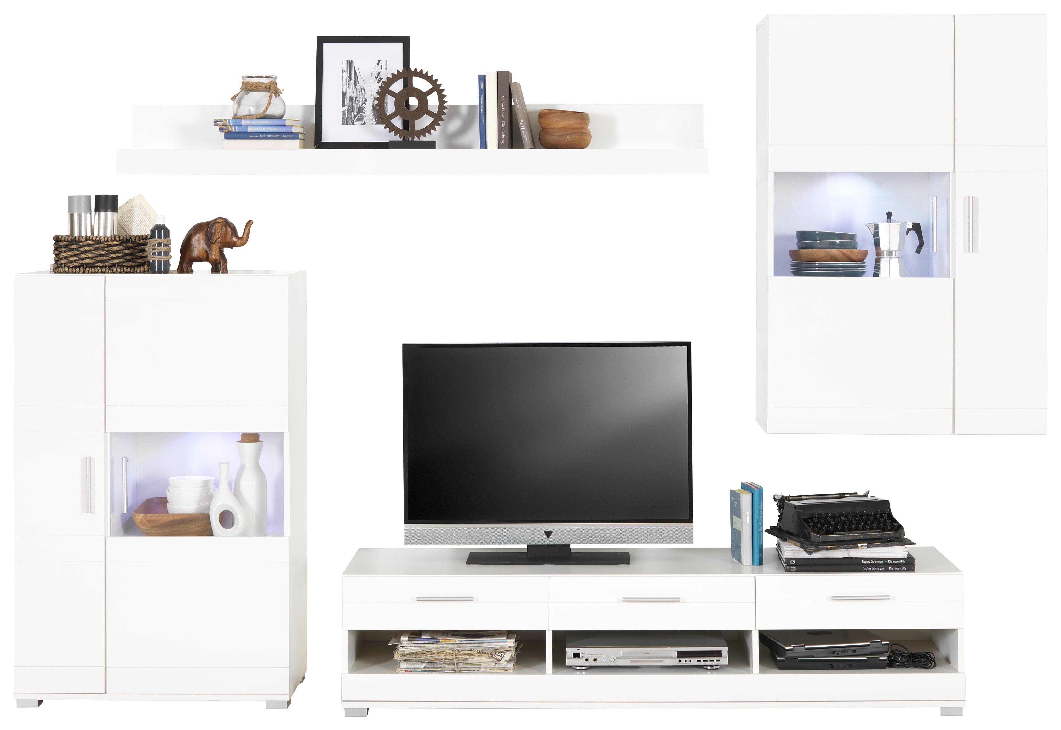 WOHNWAND Weiß   Silberfarben/Weiß, Design, Glas/Kunststoff (265/186