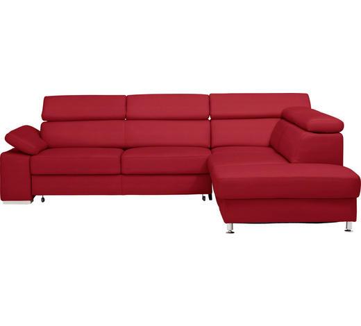 WOHNLANDSCHAFT in Leder Rot, Weinrot  - Rot/Weinrot, Design, Leder/Metall (275/226cm) - Beldomo Premium