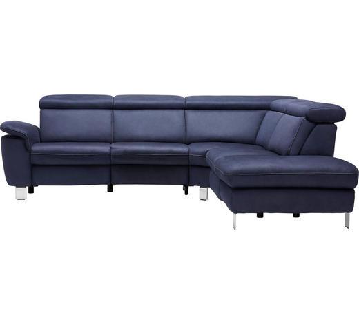 WOHNLANDSCHAFT Dunkelblau  - Beige/Alufarben, Design, Textil/Metall (271/242cm) - Cantus