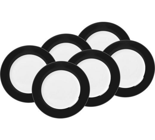 SPEISETELLERSET Porzellan  6-teilig  - Schwarz/Weiß, Basics, Keramik (26,5cm)