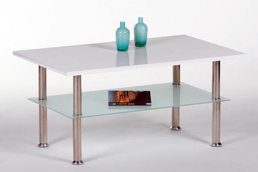 COUCHTISCH rechteckig Edelstahlfarben, Weiß - Edelstahlfarben/Weiß, Design, Glas/Metall (90/55/42cm) - Carryhome