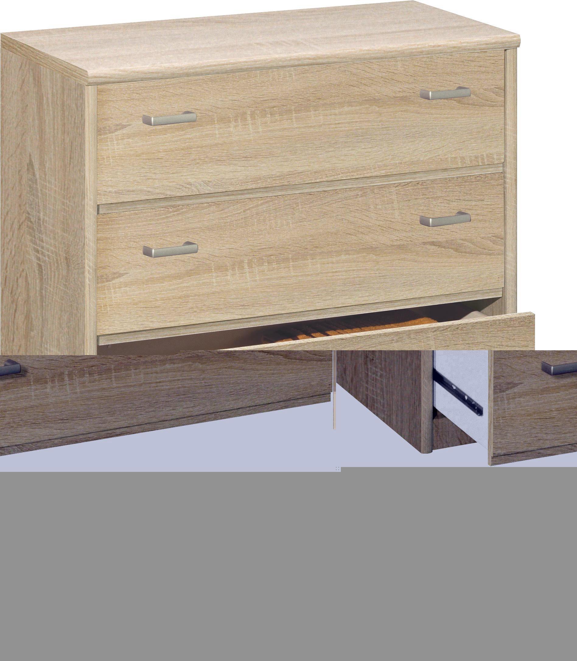 KOMMODE in Eichefarben - Eichefarben/Silberfarben, KONVENTIONELL, Holzwerkstoff/Kunststoff (72/84/36cm) - CS SCHMAL