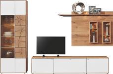 WOHNWAND Kerneiche vollmassiv Eichefarben, Weiß - Eichefarben/Weiß, Design, Glas/Holz (308/196/24-49cm) - VALNATURA